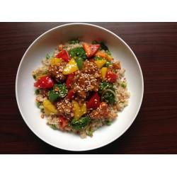 Arroz con verduras y sésamo